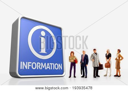 miniature people - A group of people standing in front a information board, isolated on white