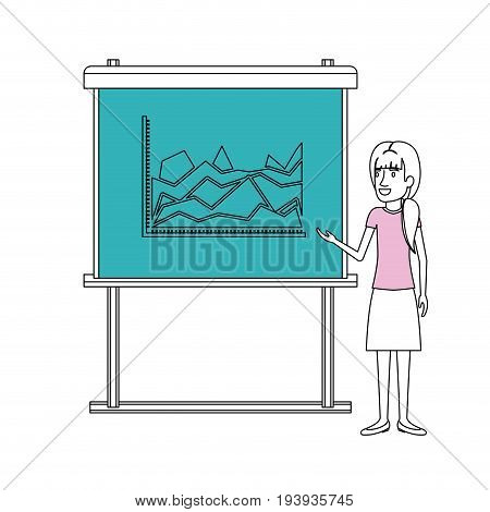 color sections silhouette of businesswoman with ponytail hairstyle making presentation vector illustration