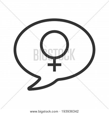 Conversation about women linear icon. Girls forum. Thin line illustration. Chat box with women gender sign inside. Contour symbol. Vector isolated outline drawing