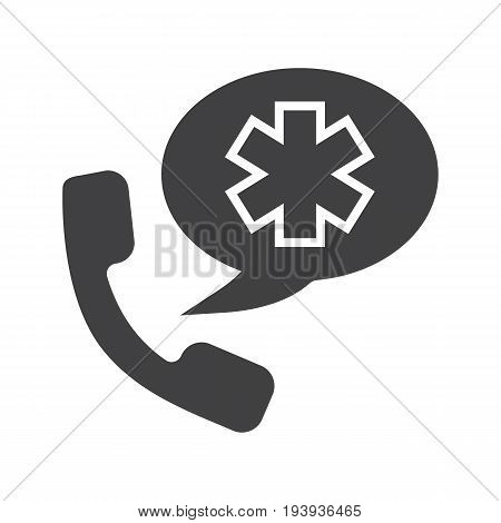 Emergency phone call to hospital glyph icon. Silhouette symbol. Handset with star of life inside speech bubble. Negative space. Vector isolated illustration