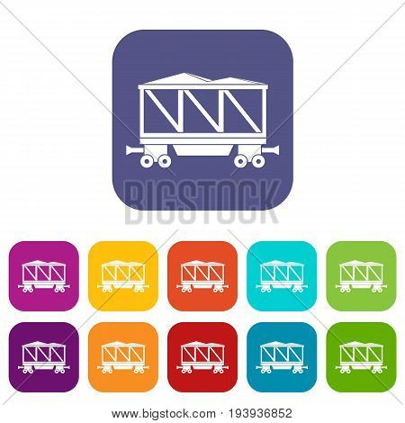 Railway wagon icons set vector illustration in flat style In colors red, blue, green and other