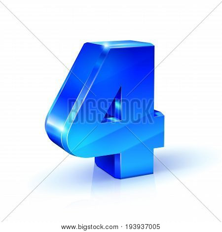 Glossy blue Four 4 number. 3d Illustration on white background. Vector