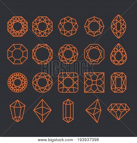 Diamond Shapes Set. Vector geometric icons of gemstone and crystal cut