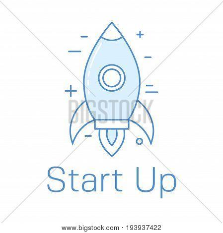 Start Up Line Art Concept With Rocket