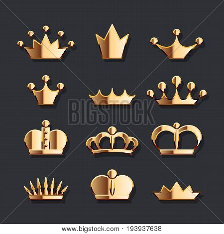 Golden Crown Set. Vector gold jewelry icons collection of king, queen, prince, princess and emperor crowns on dark background. Royal and luxury symbol