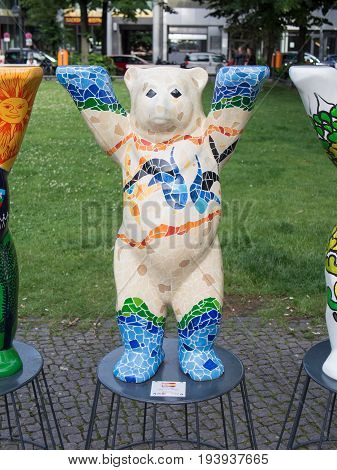 BERLIN GERMANY - JULY 3 2017: United Buddy Bears: Spain Bear At Wittenbergplatz Square In Berlin
