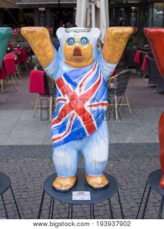 BERLIN GERMANY - JULY 3 2017: United Buddy Bears: United Kingdom Bear At Wittenbergplatz Square In Berlin