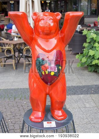 BERLIN GERMANY - JULY 3 2017: United Buddy Bears: Vietnam Bear At Wittenbergplatz Square In Berlin