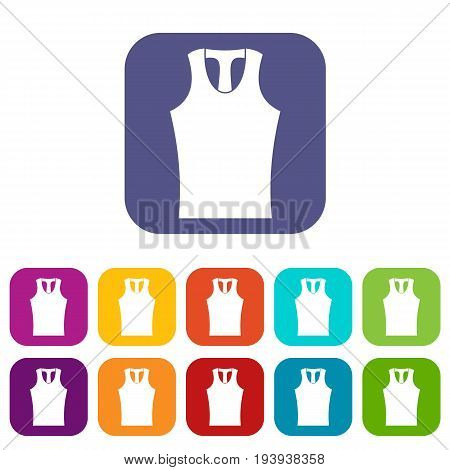 Sleeveless shirt icons set vector illustration in flat style In colors red, blue, green and other