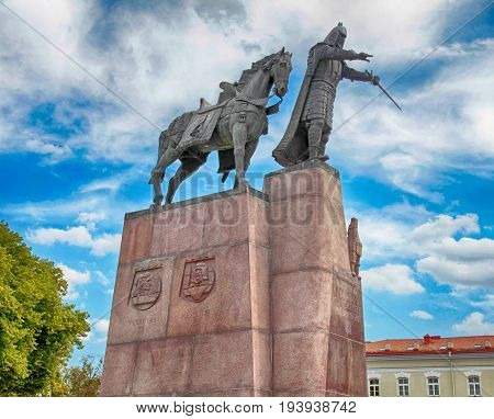 VILNIUS, LITHUANIA - JULY 19, 2015: Bronze monument to Grand Duke Gediminas on the Cathedral Square in the old town of Vilnius Lithuania.