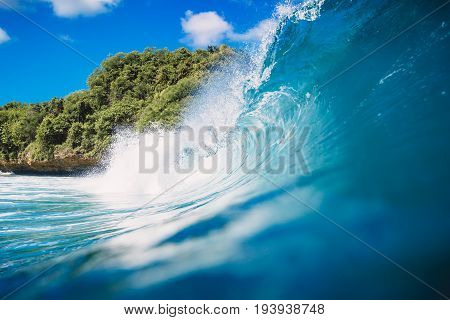 Blue wave in ocean. Wave and blue sky in Bali