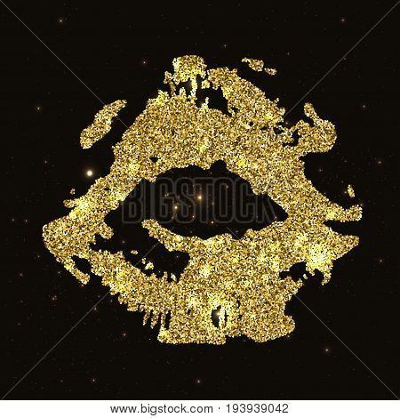 Golden Lips silhouette collection isolated on black glamour background