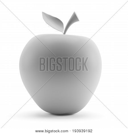 Grey apple isolated on white background. 3d rendering