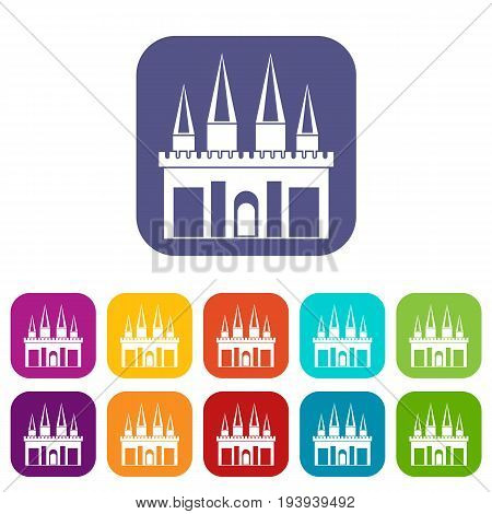Kingdom palace icons set vector illustration in flat style In colors red, blue, green and other