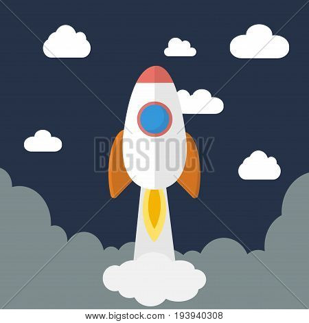 Project start up new business.Startup concept illustration. Space rocket launch. Cartoon flat vector illustration.