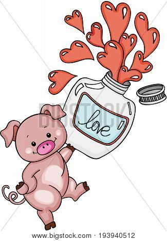 Scalable vectorial image representing a cute pig with love potion bottle, isolated on white.