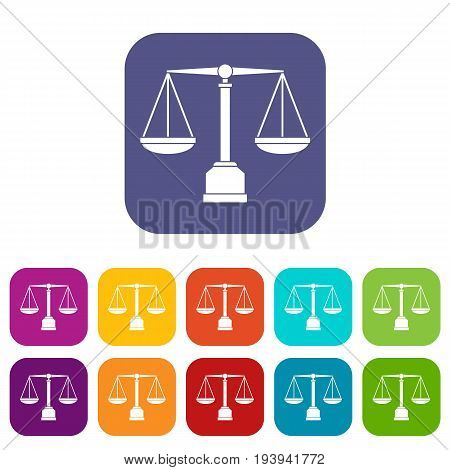 Justice scale icons set vector illustration in flat style In colors red, blue, green and other