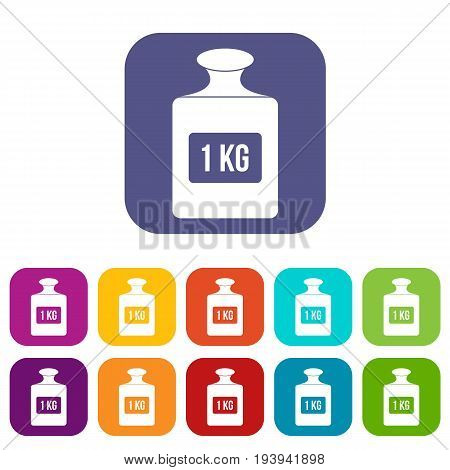 One kilogram weight icons set vector illustration in flat style In colors red, blue, green and other