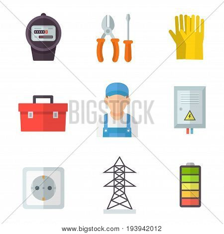 Electrician icon set. Training and technical services, a good job, manual profession and equipment images. Vector flat style cartoon illustration isolated on white background