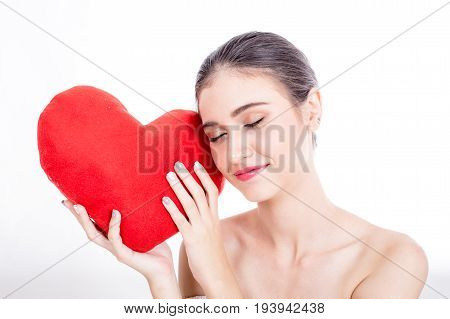 Beautiful Woman Face Portrait Beauty With Red Heart. Fashion Beauty Model Isolated On White, 20S Yea