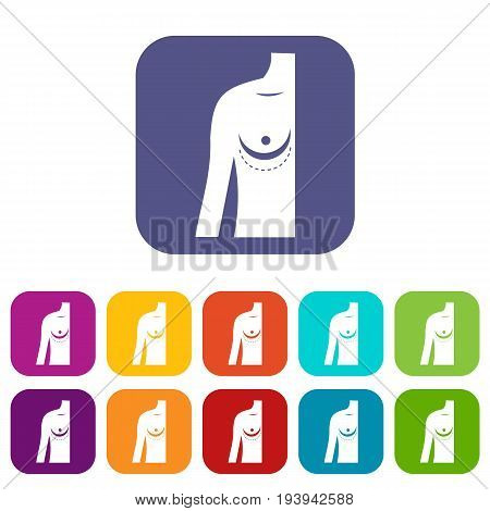 Breast implant surgery. icons set vector illustration in flat style In colors red, blue, green and other