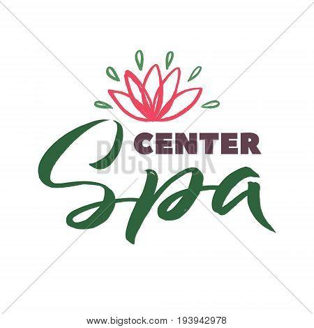 SPA Studio Vector Logo. Stroke Pink Water Lilly Flower Illustration. Brand Lettering.