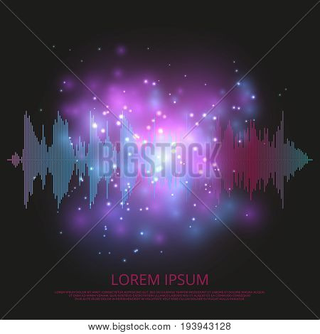 Abstract sound equalizer background - shining music wave design equalizer audio, vector illustration