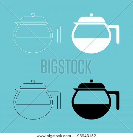 Teapot Icon. The Black And White Color Icon .