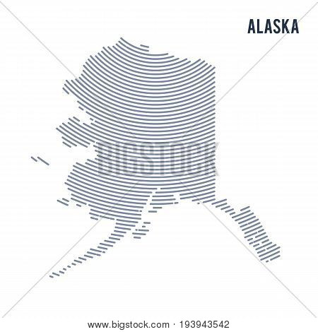 Vector abstract hatched map of of State of Alaska with curve lines isolated on a white background. Travel vector illustration.
