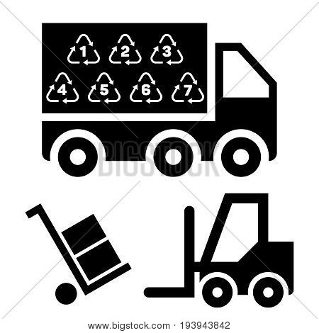 Illustration of logistic delivery and transportation with truck and cargo platforms. Truck industry vector