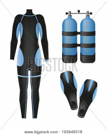 Equipment for diving. Scuba gear and accessories. 01. Suit, air tank and flippers
