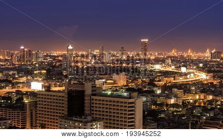 aerial view of city scape in bangkok Thailand at night
