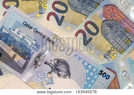 DOHA,  QATAR - JULY 5, 2017: An attack on the value of the Qatari Riyal is seen as a likely next step in the Arab Gulf confrontation between Qatar and its neighbours. The EU is calling for compromise.