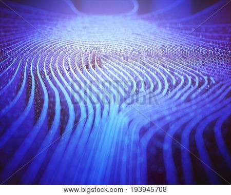 3D illustration. Fingerprint in labyrinth form with binary codes in reference to individual identity.
