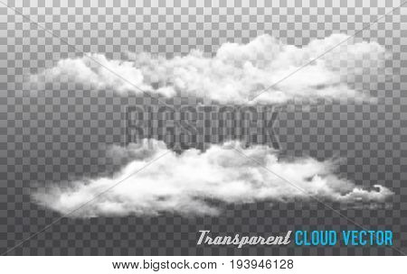 set of White Clouds vector on transparent background.