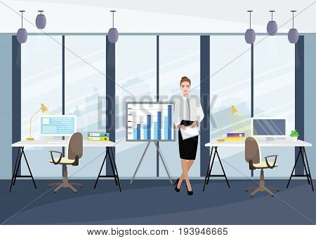Illustration of modern colorful office workplace with a big window, a map and business woman. Office interior design. Flat style vector illustration.