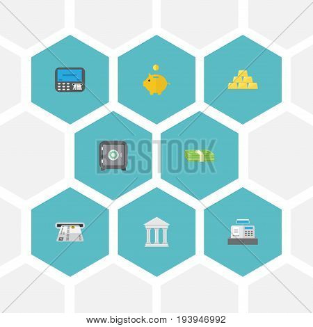 Flat Icons Strongbox, Money Box, Bank And Other Vector Elements. Set Of Finance Flat Icons Symbols Also Includes Ingot, Machine, Gold Objects.