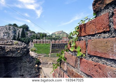detail of the Ancient Theatre of Taormina in Sicily Italy