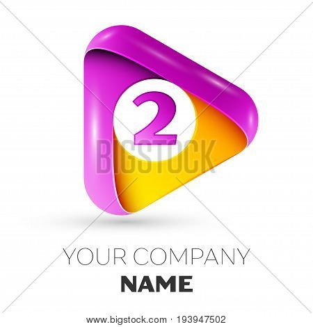 Realistic Number two vector logo symbol in the colorful triangle on white background. Vector template for your design