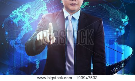 business man and global communication network background