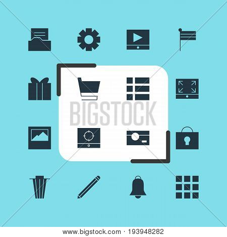 Vector Illustration Of 16 Online Icons. Editable Pack Of Target Scope, Trash, Play Button And Other Elements.