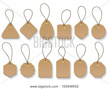Vector brown paper blank clothing vintage tags. Fashion cardboard hanging labels collection isolated on white background