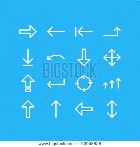 Vector Illustration Of 16 Direction Icons. Editable Pack Of Download, Turn, Raise And Other Elements.