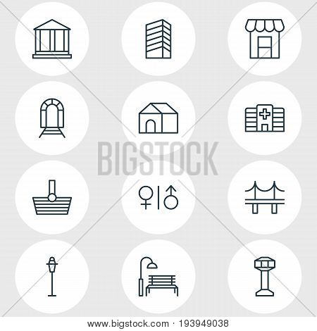 Vector Illustration Of 12 City Icons. Editable Pack Of Skyscraper, Home, Toilet And Other Elements.