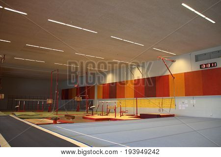 Gymnastic equipment in a gymnastic center in the Faroe Islands