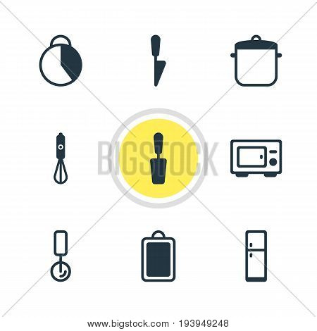 Vector Illustration Of 9 Cooking Icons. Editable Pack Of Timekeeper , Handmixer, Chopping Desk Elements.