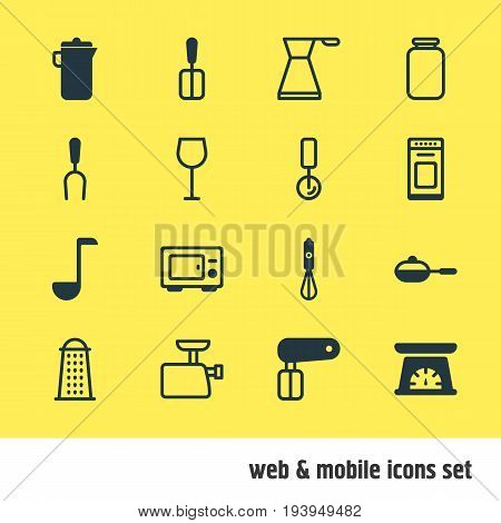 Vector Illustration Of 16 Kitchenware Icons. Editable Pack Of Jug, Cooking Spade, Mincer And Other Elements.