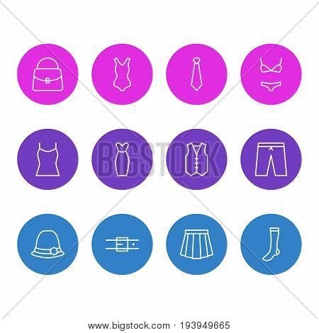 Vector Illustration Of 12 Clothes Icons. Editable Pack Of Swimsuit, Handbag, Cravat Elements.