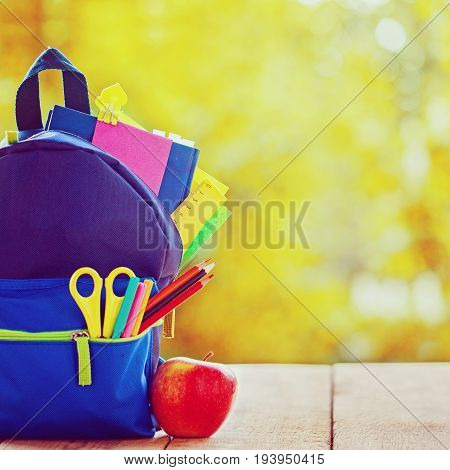 Full School Backpack With Red Apple On Wooden And Autumn Nature Background