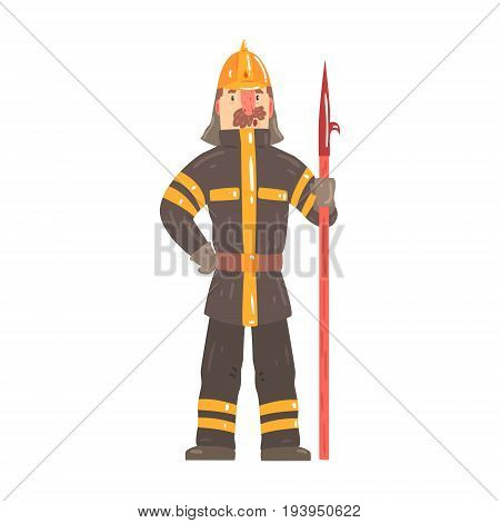 Firefighter in safety helmet and protective suit standing with scrap tool cartoon character vector Illustration isolated on a white background